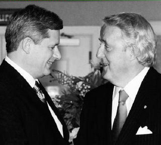 Stephen Harper and Brian Mulroney at a meeting of the ROV (Royal Order of Vampires.)