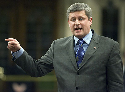 Stephen Harper smuggling a squirrel into the House of Commons