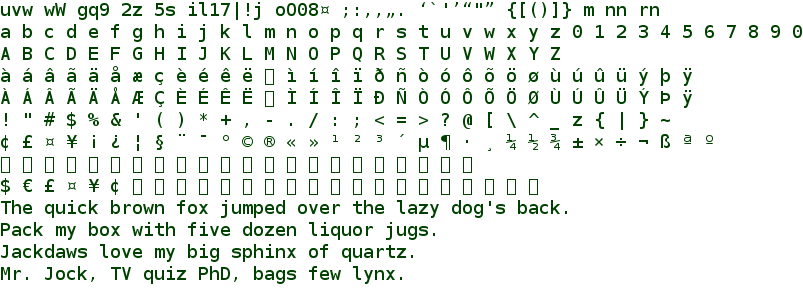 Bitstream Vera Sans Mono font sample