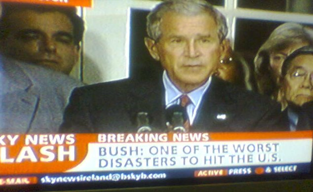 TV shot of Bush as biggest disaster