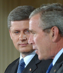 Steven Harper and George W. Bush