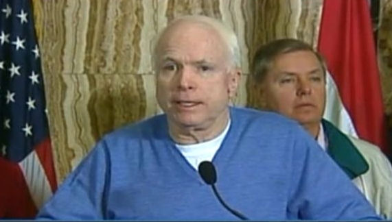 John McCain in fetching sweater by designer Mr. Stephen