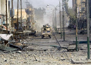 Fallujah street bombed by Americans