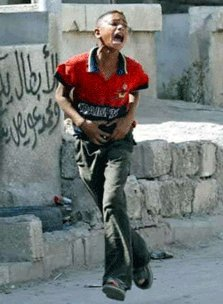 Palestinian boy being shot