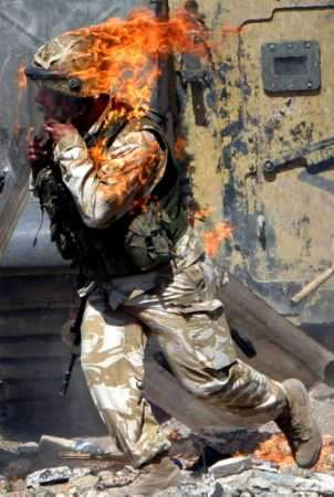 American soldier in flames