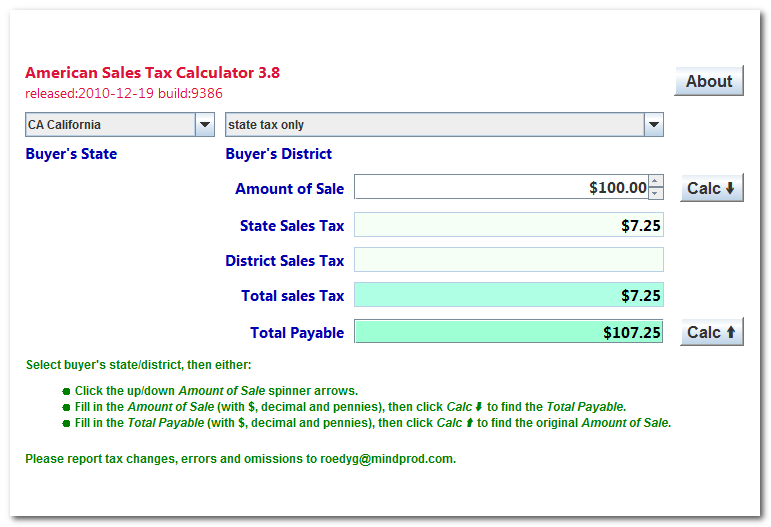 Click to view American State Sales Tax Calculator 4.1 screenshot