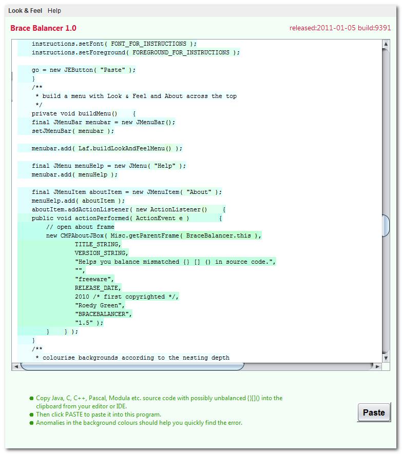 Click to view BraceBalancer 1.3 screenshot