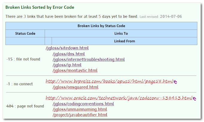 BrokenLinks Screen shot