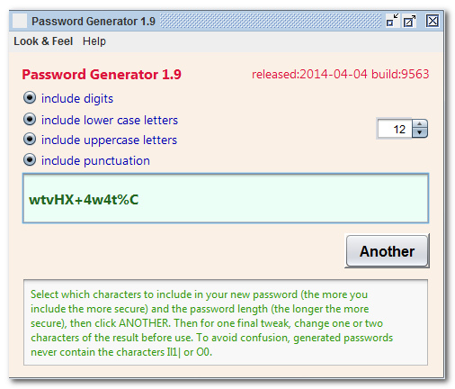 Click to view Password 1.7 screenshot