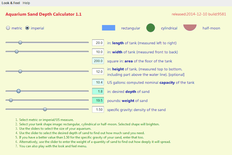 Aquarium Sand Depth Calculator Screen shot